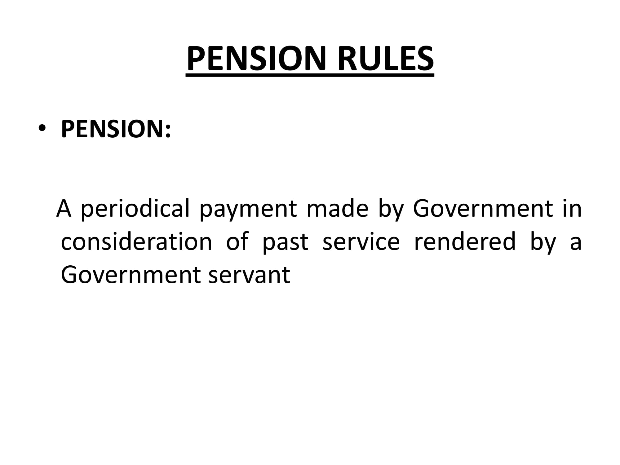 Pension rules In Pakistan