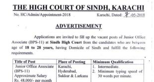 Sindh High Court Junior Court Associate Salary In Pakistan