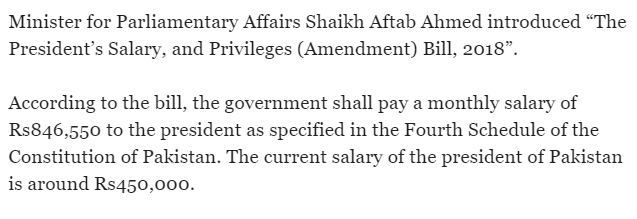 Salary Of President Of Pakistan 2018