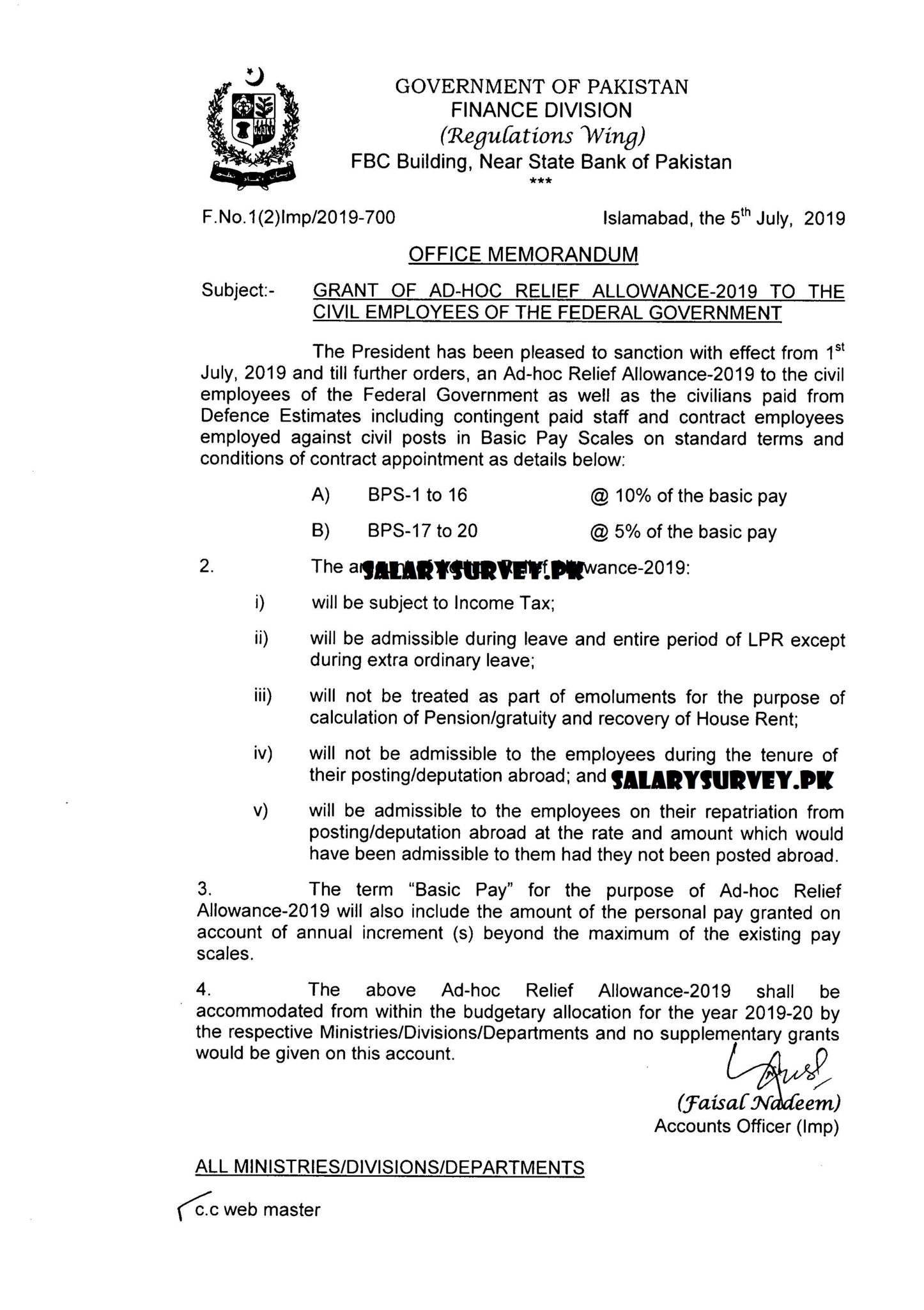 Adhoc Relief Allowance 2019-20 In Pakistan Finance Division Regulations Wing Effective From 1st July